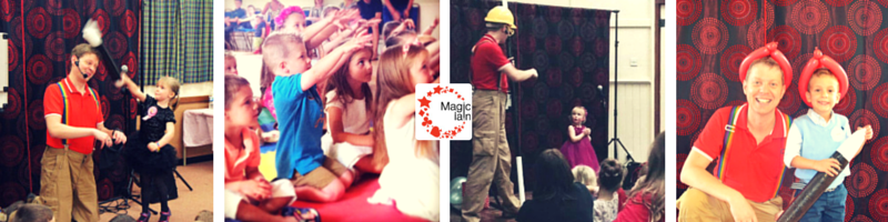 Children's entertainer and magician entertaining and smiling with kids